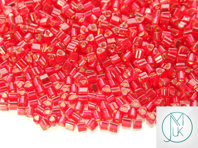 10g 25C Silver Lined Ruby Toho Triangle Seed Beads 8/0 3mm-TOHO Glass Beads-Michael's UK Jewellery