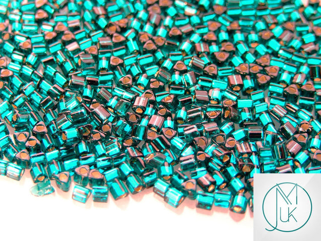 10g 27BD Silver Lined Teal Toho Triangle Seed Beads 8/0 3mm-TOHO Glass Beads-Michael's UK Jewellery