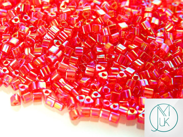 10g 165C Transparent Ruby Rainbow Toho Triangle Seed Beads 8/0 3mm-TOHO Glass Beads-Michael's UK Jewellery