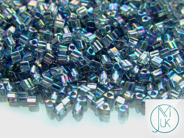 10g 176B Transparent Grey Rainbow Toho Triangle Seed Beads 8/0 3mm-TOHO Glass Beads-Michael's UK Jewellery