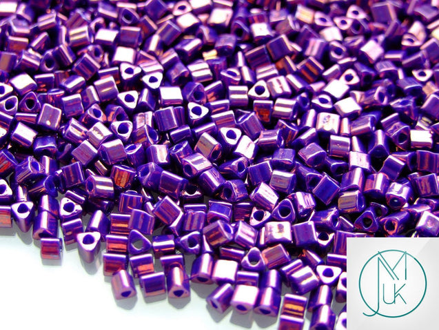 10g 461 Higher Metallic Grape Toho Triangle Seed Beads 8/0 3mm-TOHO Glass Beads-Michael's UK Jewellery