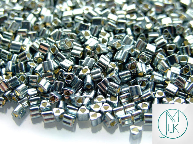 10g 565 Galvanized Blue Slate Toho Triangle Seed Beads 8/0 3mm-TOHO Glass Beads-Michael's UK Jewellery