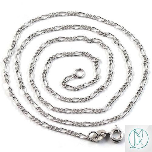 Solid 925 Sterling Silver Figaro Chain 1.5mm 18-22''-Sterling Silver-Michael's UK Jewellery