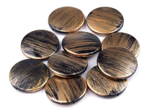 10pcs Light Brown Plastic Disc Beads Metallic Paint-Plastic Beads-Michael's UK Jewellery