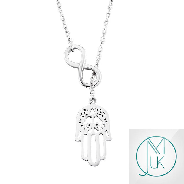Solid 925 Sterling Silver Infinity Fatima Hamsa Hand Charm Necklace-Sterling Silver-Michael's UK Jewellery