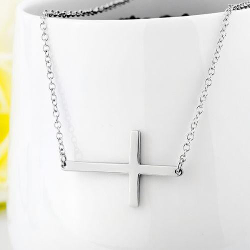 Solid 925 Sterling Silver Horizontal Sideways Cross Charm Necklace-Sterling Silver-Michael's UK Jewellery
