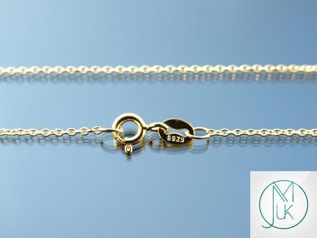 Solid 925 Sterling Silver Gold Plated Cable Chain 1.2mm 18-22''-Sterling Silver-Michael's UK Jewellery