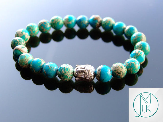 Buddha Imperial Jasper Natural Gemstone Bracelet 7-8'' Elasticated-Gemstone Bracelets-Michael's UK Jewellery