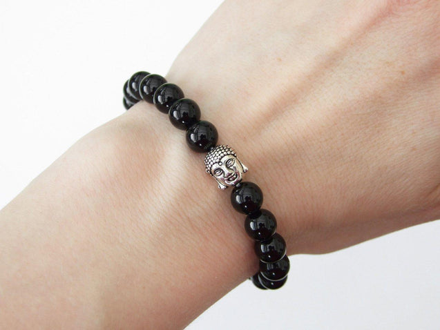 Buddha Black Onyx Natural Gemstone Bracelet 6-9'' Elasticated-Gemstone Bracelets-Michael's UK Jewellery