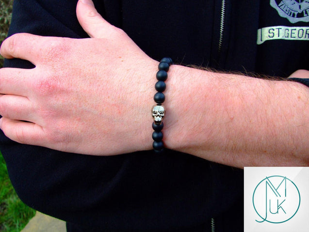 Men's Onyx Matte Pyrite Natural Gemstone Skull Bracelet with Swarovski Crystal 6-9inch-Norbis Gemstone Bracelets-Michael's UK Jewellery