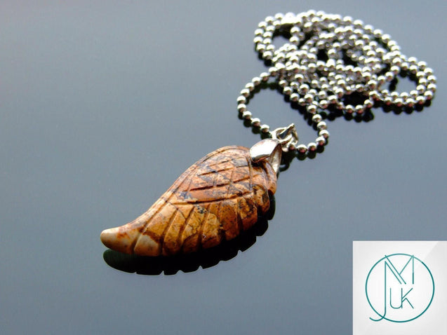 Picture Jasper Natural Gemstone Angel Wing Pendant Necklace-Pendant-Michael's UK Jewellery