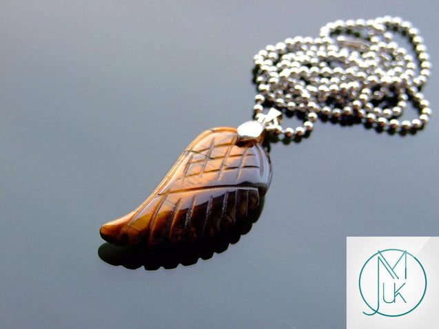 Tigers Eye Natural Gemstone Angel Wing Pendant Necklace-Pendant-Michael's UK Jewellery