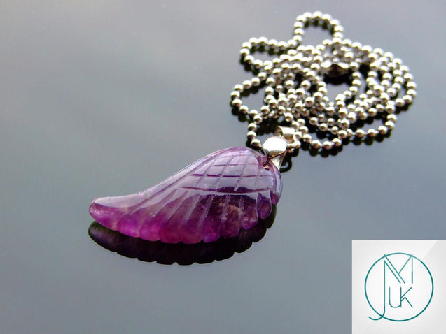 Amethyst Natural Gemstone Angel Wing Pendant Necklace-Pendant-Michael's UK Jewellery