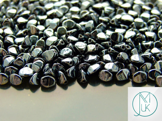 10g Pinch Kumihimo Beads Jet Hematite-Matubo Glass Beads-Michael's UK Jewellery