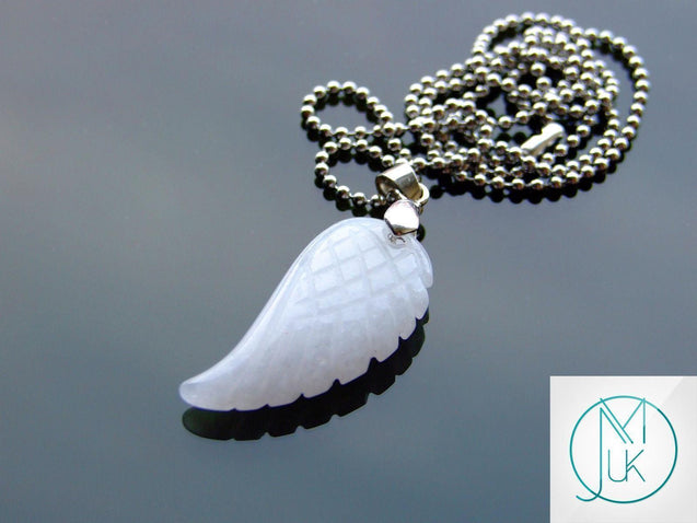 White Jade Natural Gemstone Angel Wing Pendant Necklace-Pendant-Michael's UK Jewellery