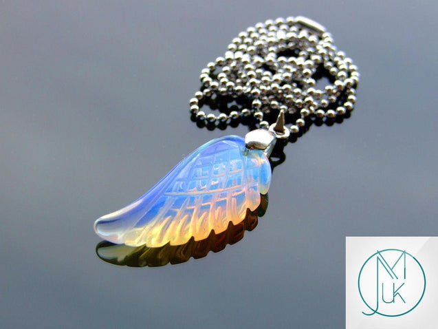 Opalite Manmade Gemstone Angel Wing Pendant Necklace-Pendant-Michael's UK Jewellery