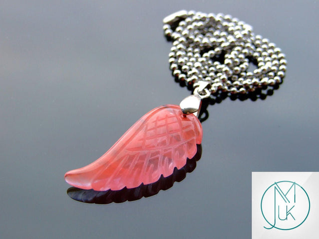Cherry Quartz Gemstone Angel Wing Pendant Necklace-Pendant-Michael's UK Jewellery