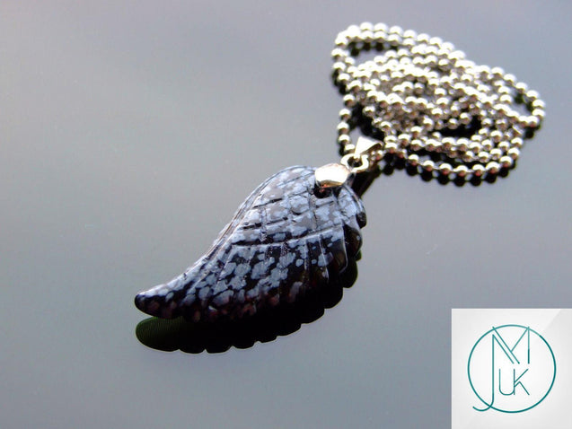 Snowflake Obsidian Natural Gemstone Angel Wing Pendant Necklace-Pendant-Michael's UK Jewellery