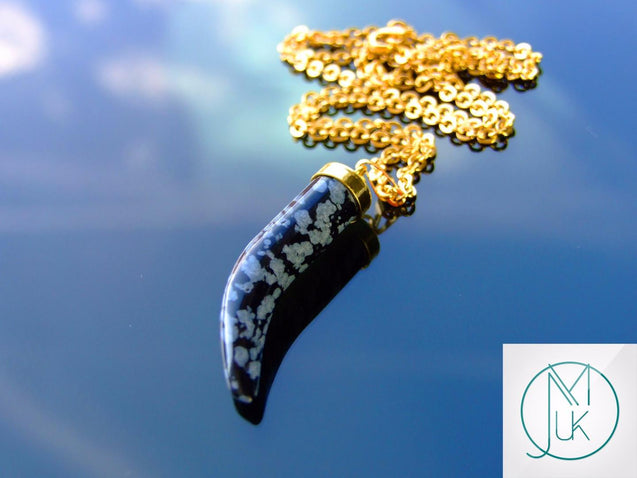 Snowflake Obsidian Gemstone Pepper Pendant Necklace-Gemstone Necklaces-Michael's UK Jewellery