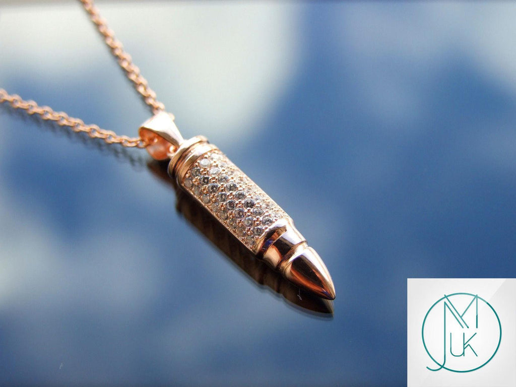 Solid 925 sterling silver bullet pendant necklace rose gold solid 925 sterling silver bullet pendant necklace rose gold sterling silver michaels uk jewellery aloadofball Choice Image