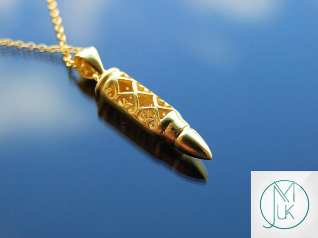 Solid 925 Sterling Silver Bullet Pendant Necklace Gold-Sterling Silver-Michael's UK Jewellery