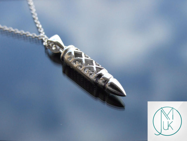 Solid 925 Sterling Silver Bullet Moon Pendant Necklace-Sterling Silver-Michael's UK Jewellery