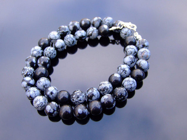 Snowflake Obsidian Natural Gemstone Necklace 8mm Beaded 16-30inch-Michael's UK Jewellery