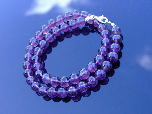 Amethyst Natural Gemstone Necklace 8mm Beaded 16-30inch-Michael's UK Jewellery