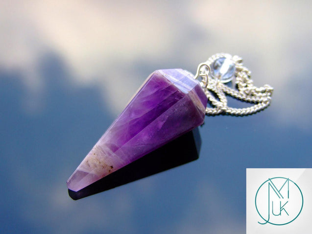 Amethyst Natural Gemstone Point Pendulum-Pendulum-Michael's UK Jewellery