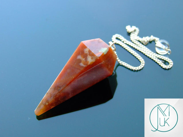 Fancy Jasper Natural Gemstone Point Pendulum-Pendulum-Michael's UK Jewellery