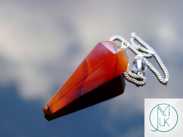 Carnelian Natural Gemstone Point Pendulum-Pendulum-Michael's UK Jewellery