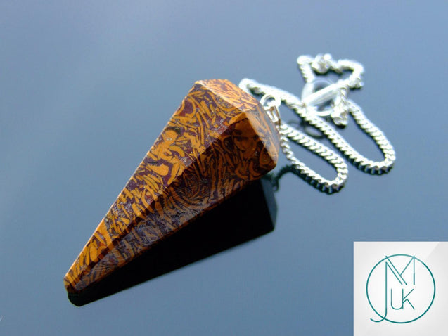 Calligraphy Stone Natural Gemstone Point Pendulum-Pendulum-Michael's UK Jewellery