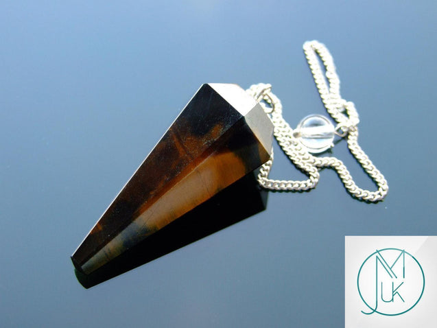 Blue Tigers Eye Natural Gemstone Point Pendulum-Pendulum-Michael's UK Jewellery