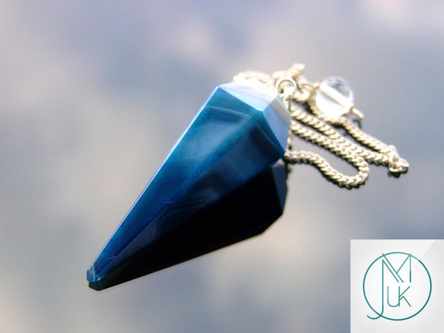 Blue Onyx Natural Gemstone Point Pendulum-Pendulum-Michael's UK Jewellery
