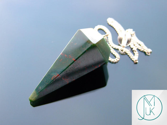 Bloodstone Natural Gemstone Point Pendulum-Pendulum-Michael's UK Jewellery