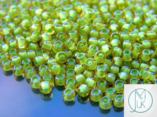 10g 945 Inside Color Jonquil/Mint Julep Lined Toho Seed Beads 6/0 4mm-TOHO Glass Beads-Michael's UK Jewellery