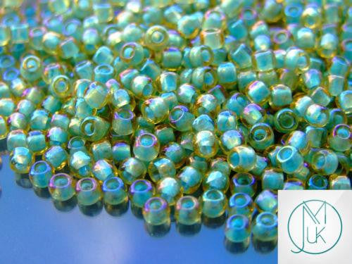 10g 952 Inside Color Light Topaz/Sea Foam Frosted Lined Toho Seed Beads 6/0 4mm-TOHO Glass Beads-Michael's UK Jewellery