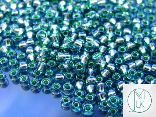 10g 2202 Silver Lined Transparent Green Toho Seed Beads 6/0 4mm-TOHO Glass Beads-Michael's UK Jewellery