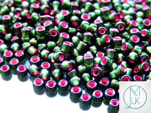 10g 2204 Silver Lined Frosted Olivine Pink Lined Toho Seed Beads 6/0 4mm-TOHO Glass Beads-Michael's UK Jewellery