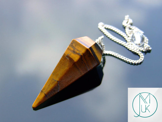 Yellow Tigers Eye Gemstone Point Pendulum-Pendulum-Michael's UK Jewellery