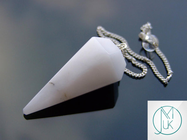 White Agate Natural Gemstone Point Pendulum-Pendulum-Michael's UK Jewellery