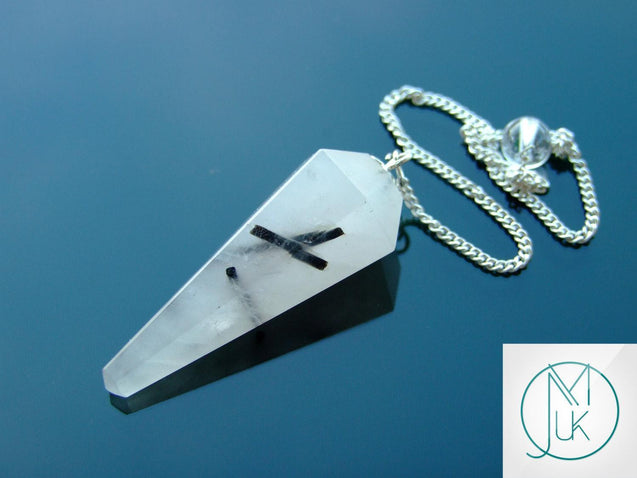 Tourmalated Quartz Natural Gemstone Point Pendulum-Pendulum-Michael's UK Jewellery