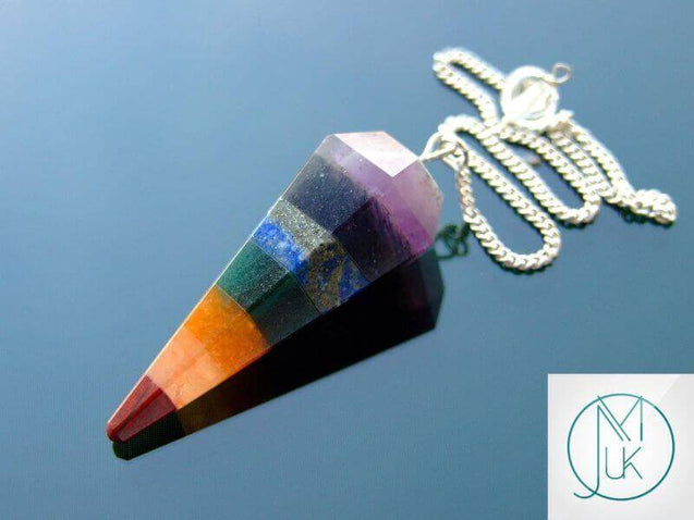 7 Chakra Natural Gemstone Point Pendulum-Pendulum-Michael's UK Jewellery