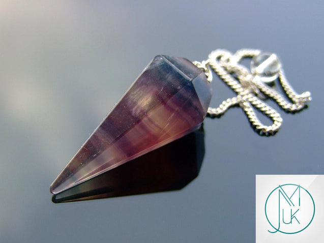 Multi Fluorite Natural Gemstone Point Pendulum-Pendulum-Michael's UK Jewellery