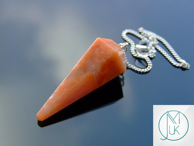Peach Moonstone Natural Gemstone Point Pendulum-Pendulum-Michael's UK Jewellery