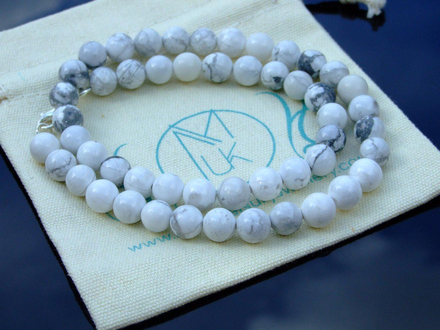 White-Howlite-Natural-Gemstone-Necklace-8mm-Beaded-16-30inch-Healing-Stone thumbnail 5