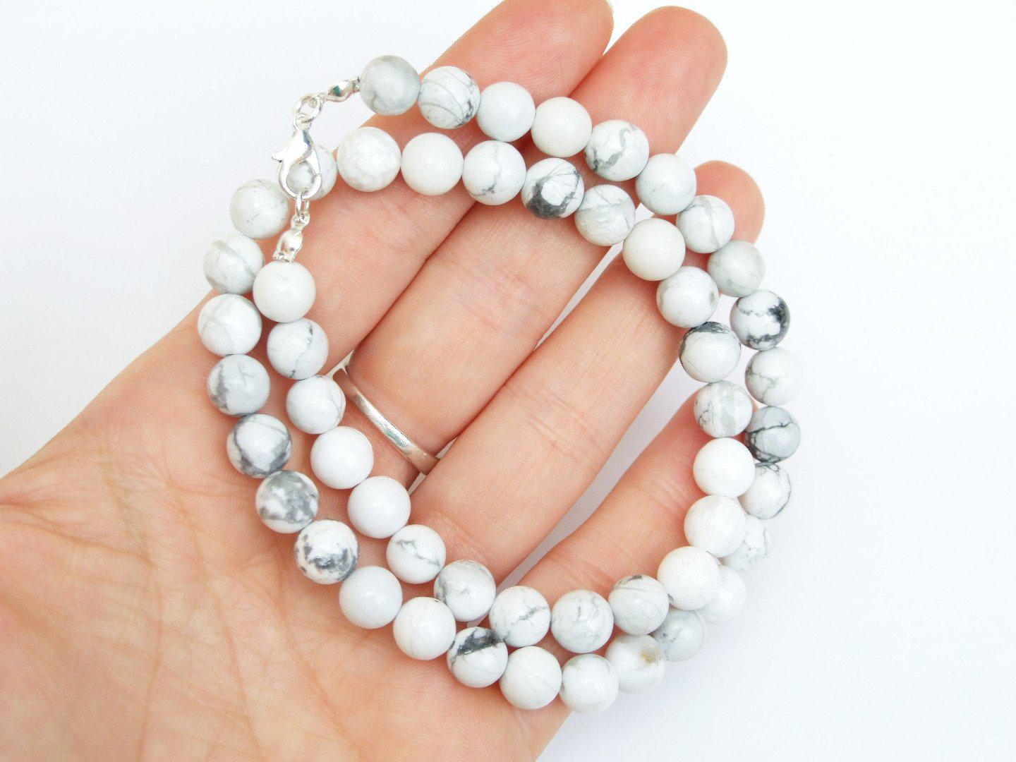 White-Howlite-Natural-Gemstone-Necklace-8mm-Beaded-16-30inch-Healing-Stone thumbnail 6