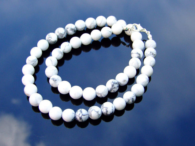 White Howlite Natural Gemstone Necklace 8mm Beaded 16-30inch-Michael's UK Jewellery