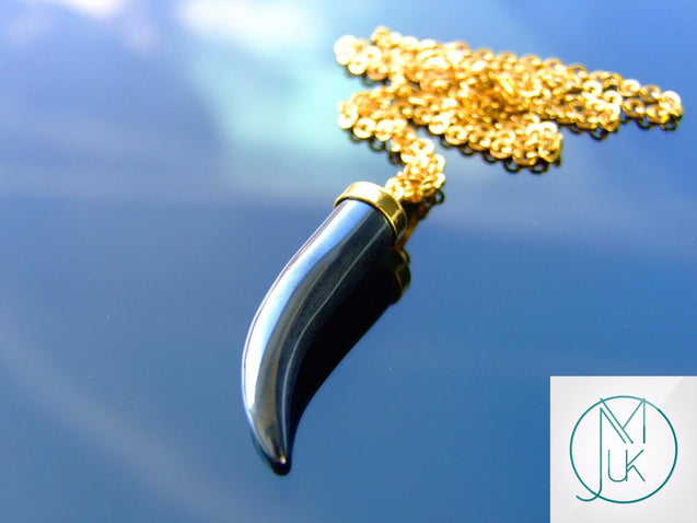 Hematite Natural Gemstone Pepper Pendant Necklace-Gemstone Necklaces-Michael's UK Jewellery
