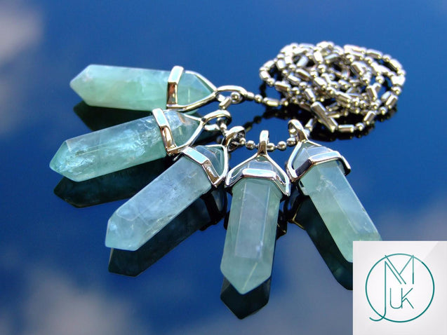 Green Fluorite Natural Crystal Point Pendant Gemstone Necklace-Gemstone Necklaces-Michael's UK Jewellery